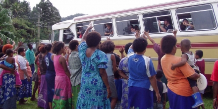 Women and bus in Fiji