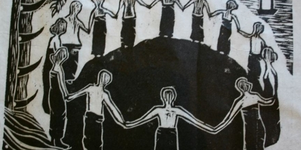 'Tebe Hare', lino print on cotton, by Bayu Gembel, from the Recovering Lives Across Borders Art project, 2008.